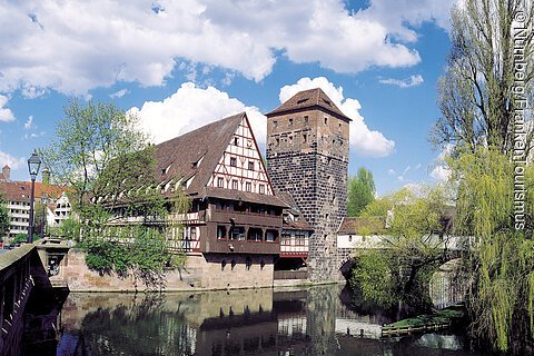 The Weinstadel Building and Henkersteg (Hangman's Bridge) in Nuremberg