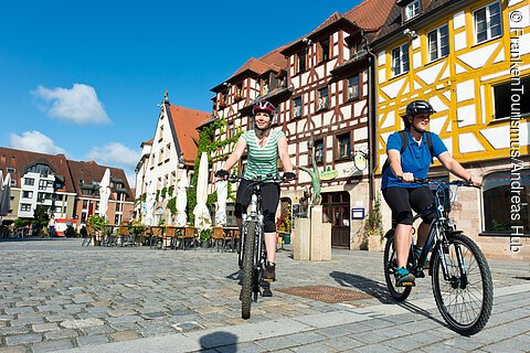 Bicyclists in the Fürth Old Town